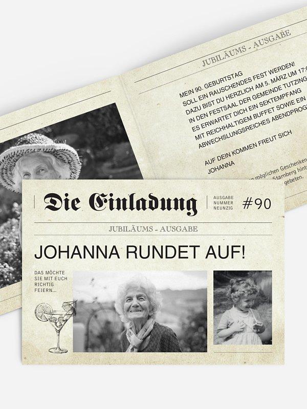 Einladung 90. Geburtstag Newspaper