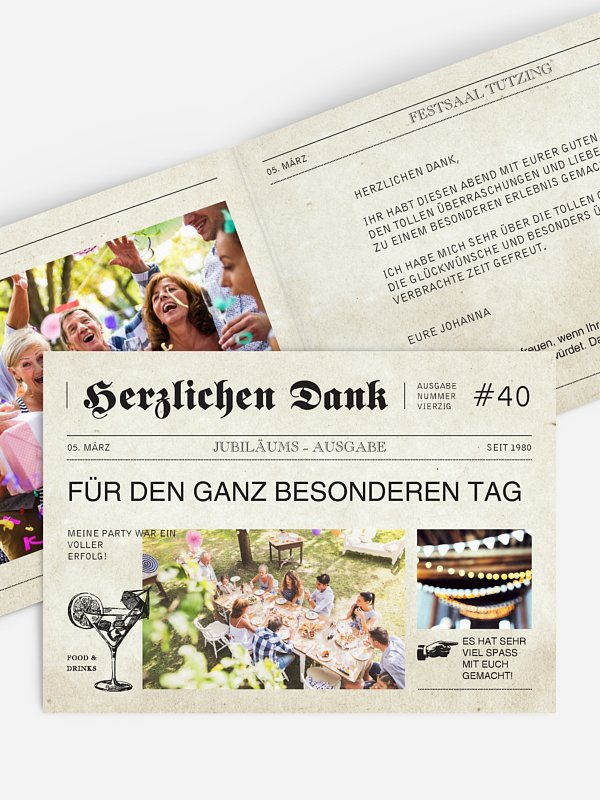 Dankeskarte Geburtstag Newspaper