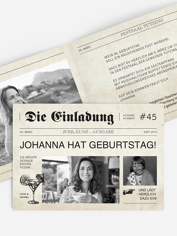 Geburtstagseinladung Newspaper