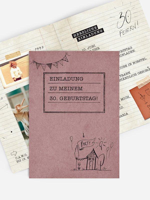 Einladung 30. Geburtstag Notizbuch