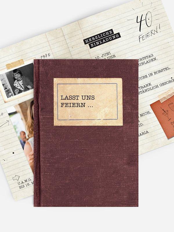Einladung 40. Geburtstag Notizbuch