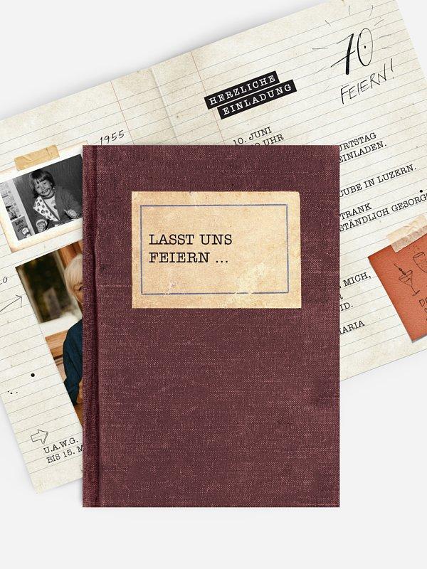 Einladung 70. Geburtstag Notizbuch