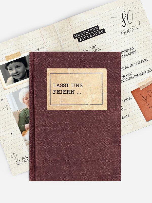 Einladung 80. Geburtstag Notizbuch