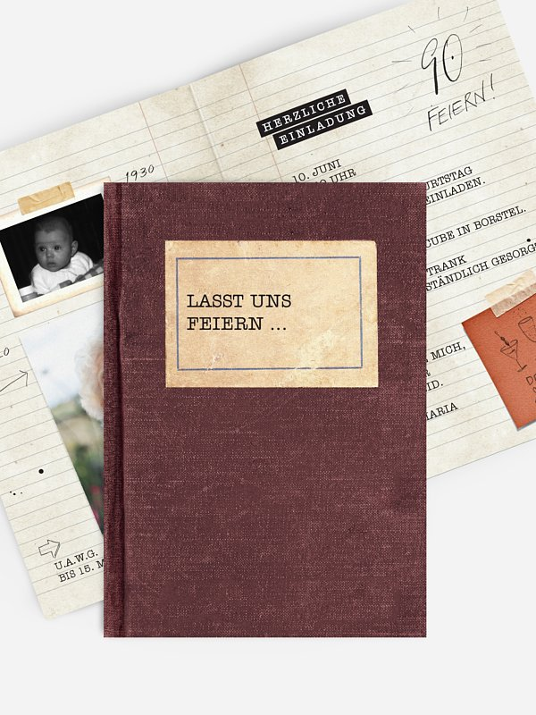 Einladung 90. Geburtstag Notizbuch