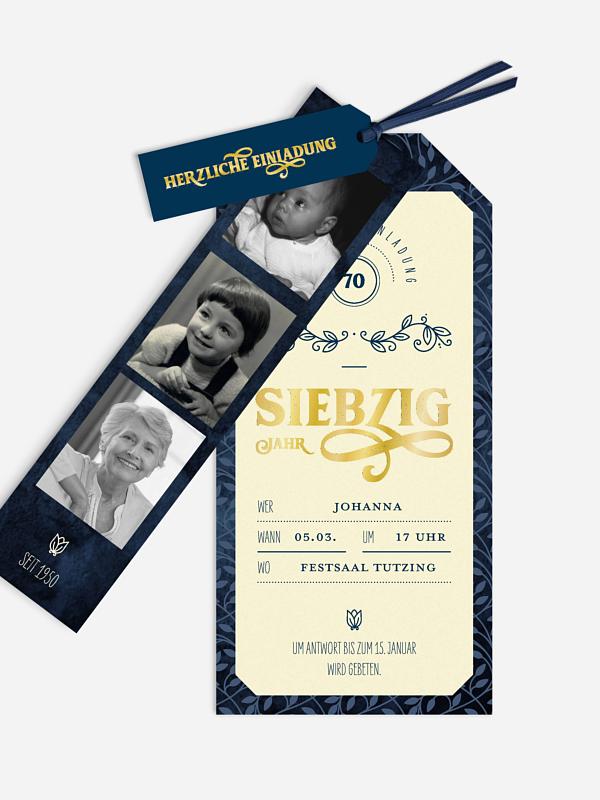 Einladung 70. Geburtstag Alte Zeiten