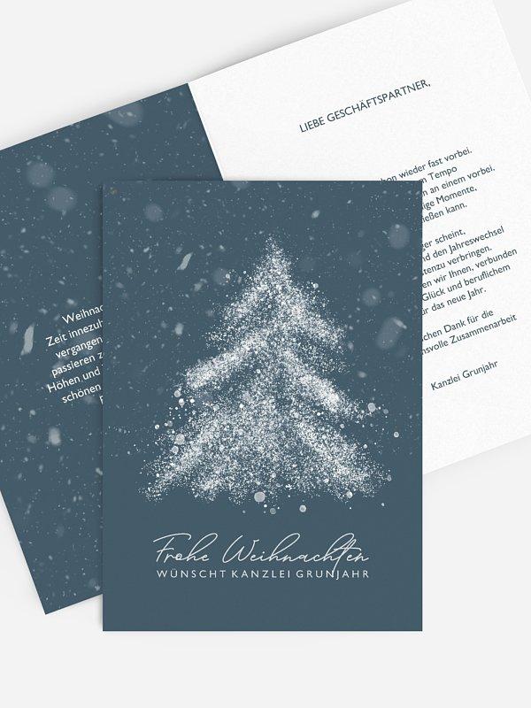 Geschäftliche Weihnachtskarte Schneetreiben
