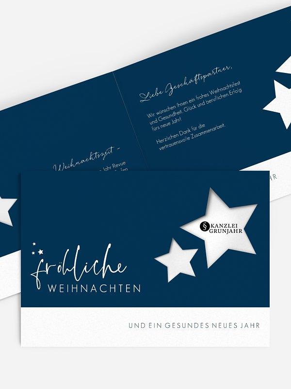 Geschäftliche Weihnachtskarte Funkelnde Nacht (gestanzt)