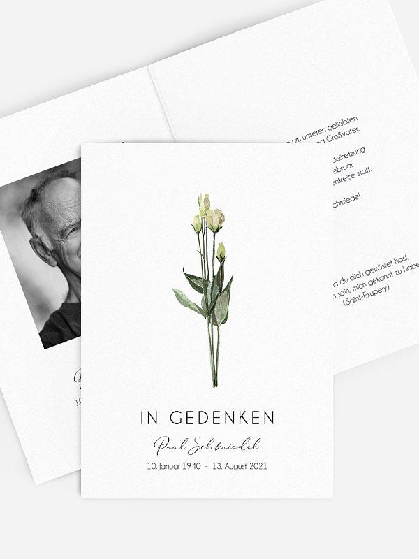 Trauerkarte Weiße Rosen