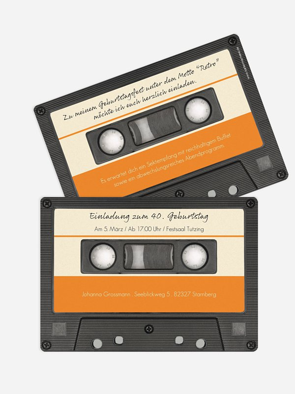 Einladung 40. Geburtstag Tonband