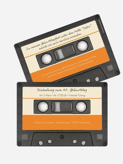 """einladungskarten 40. geburtstag """"kassette"""""""