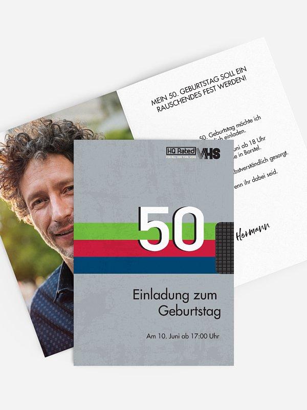 Einladung 50. Geburtstag Videokassette