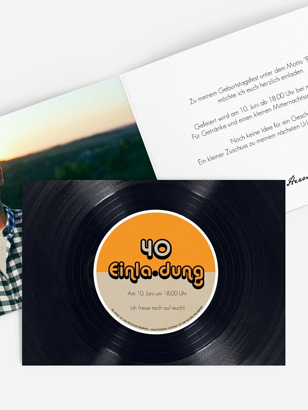 Einladung 40. Geburtstag Vinylplatte