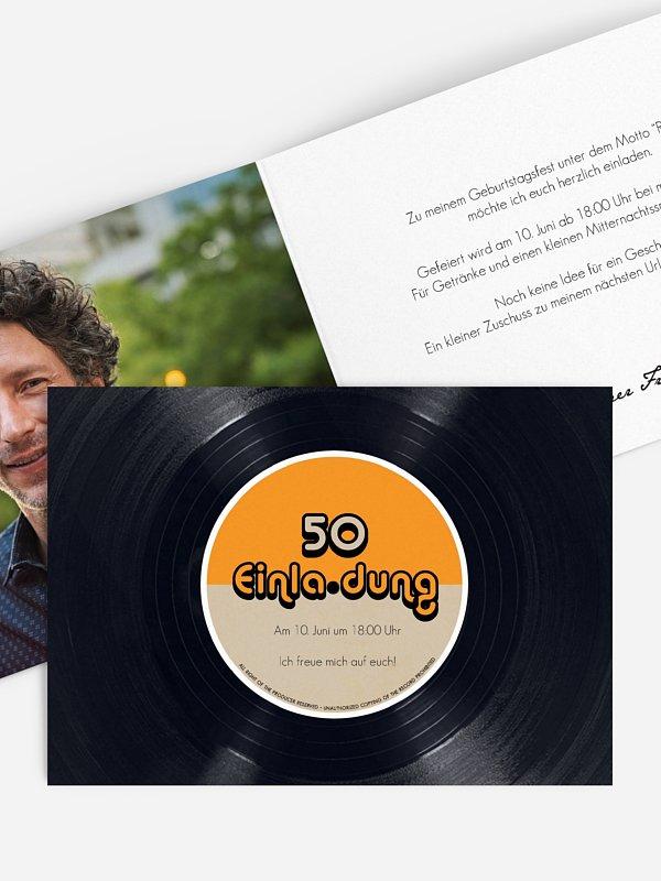 Einladung 50. Geburtstag Vinylplatte