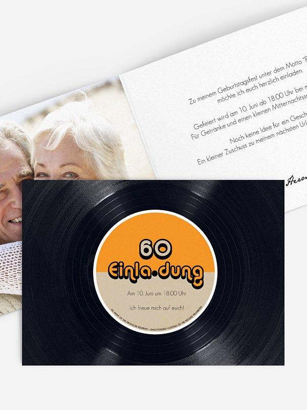 Einladung 60. Geburtstag Vinylplatte
