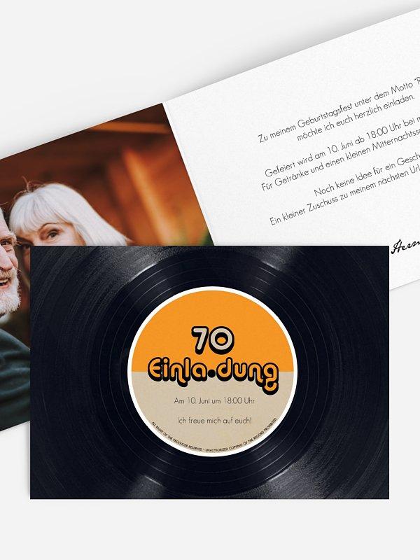 Einladung 70. Geburtstag Vinylplatte