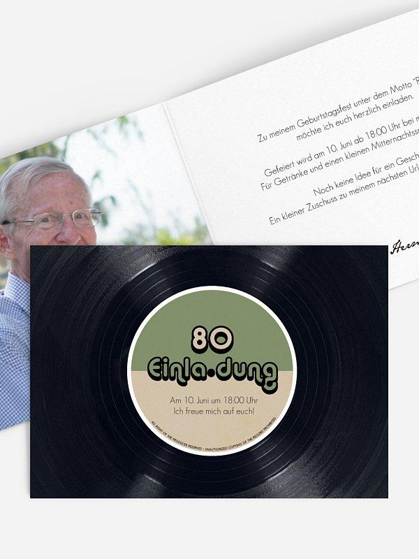 Einladung 80. Geburtstag Vinylplatte