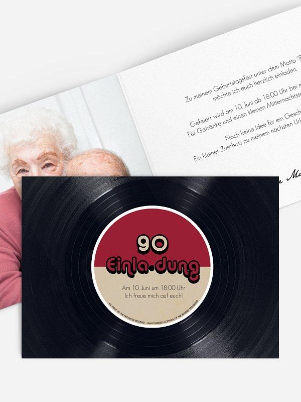 Einladung 90. Geburtstag Vinylplatte