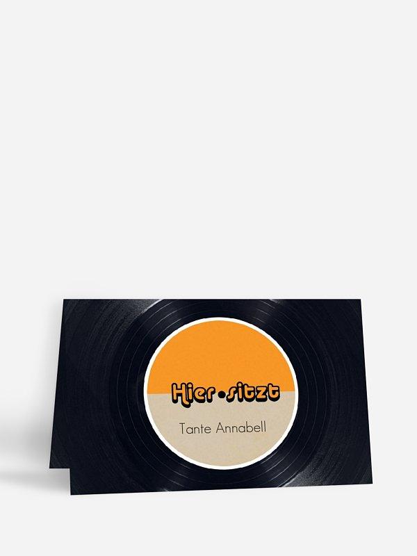 Tischkarte Geburtstag Vinylplatte