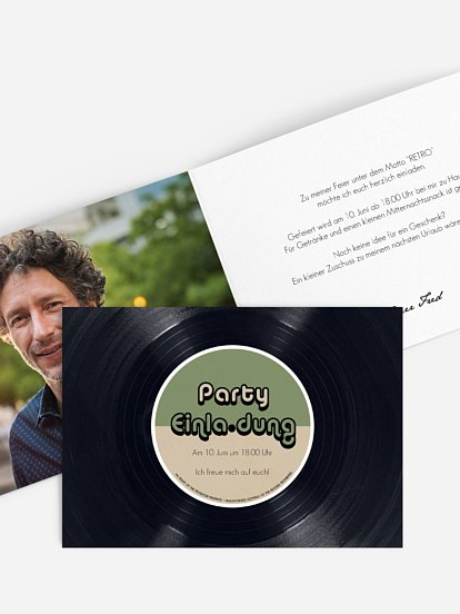 "Partyeinladung ""Vinylplatte"""