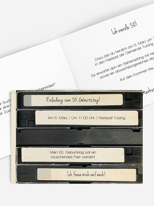 Einladung 50. Geburtstag Tape
