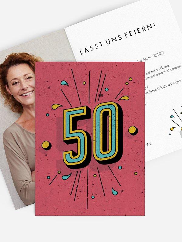 Einladung 50. Geburtstag Retro Number
