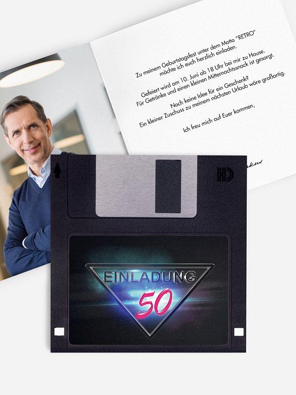 Einladung 50. Geburtstag Floppy Disk