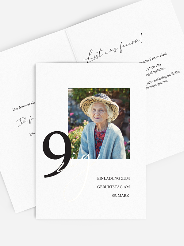 Einladung 90. Geburtstag Neues Jahrzehnt