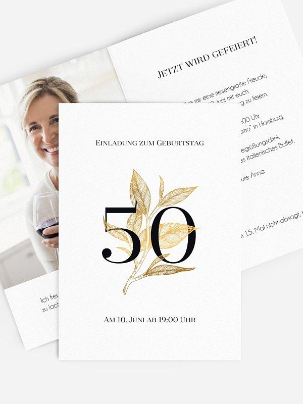 Einladung 50. Geburtstag Golden Leaf