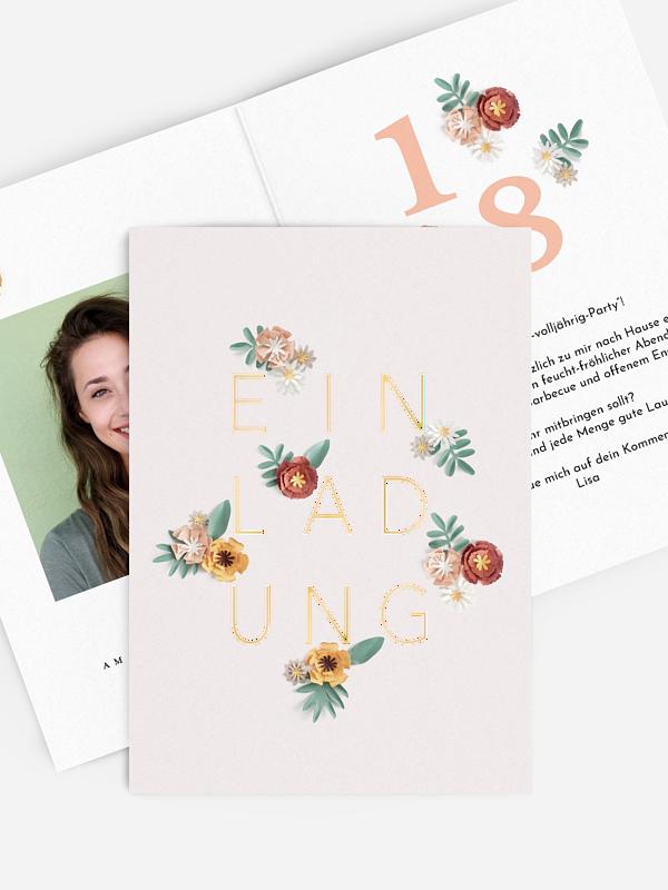 Einladung 18. Geburtstag Papierblumen