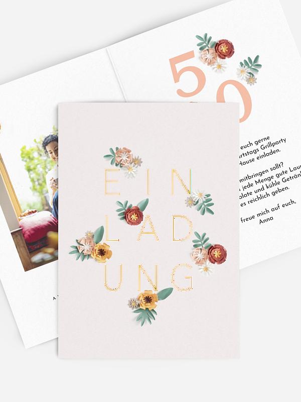 Einladung 50. Geburtstag Papierblumen