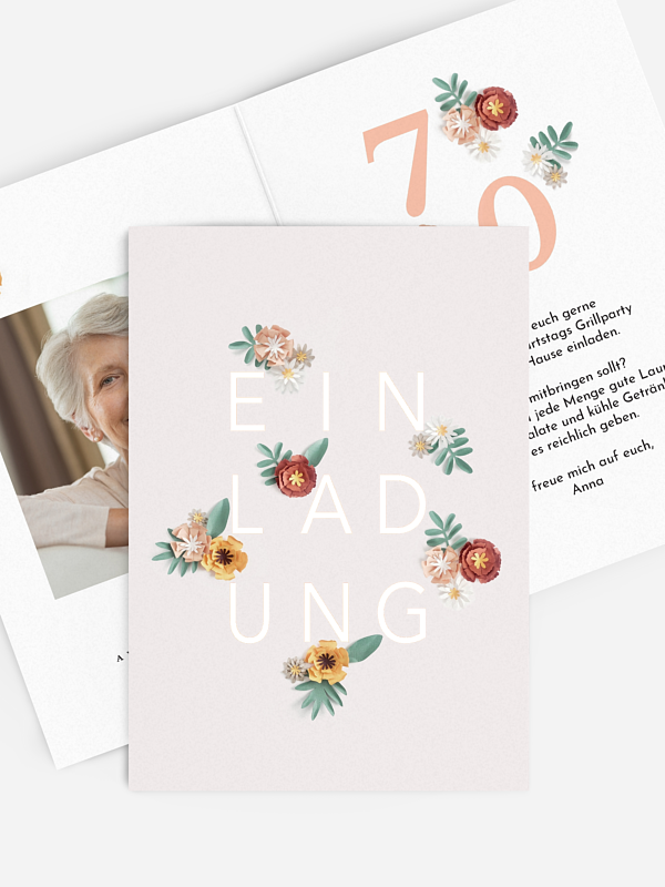 Einladung 70. Geburtstag Papierblumen