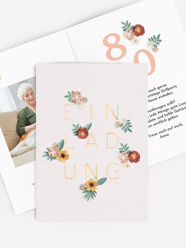 Einladung 80. Geburtstag Papierblumen