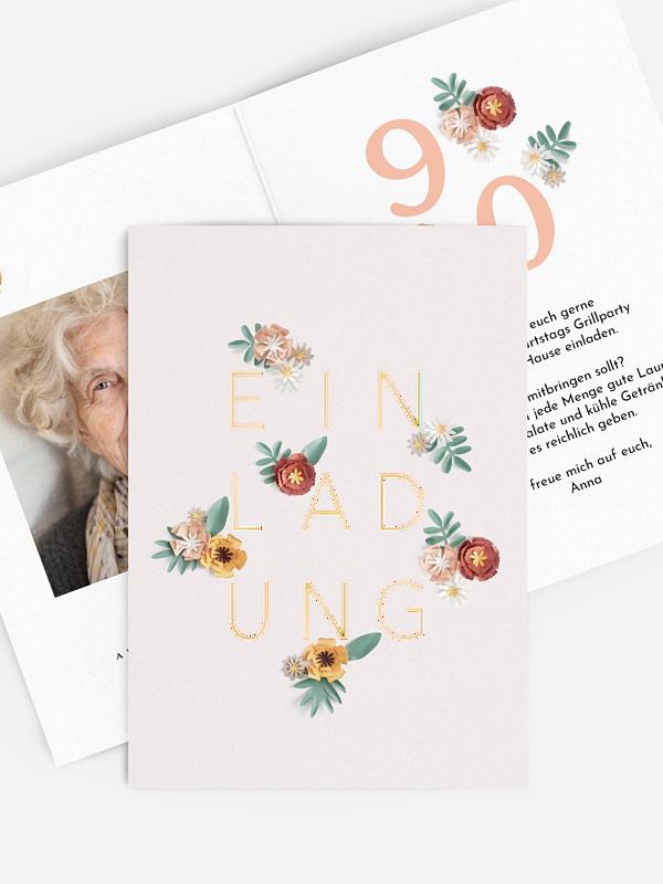 Einladung 90. Geburtstag Papierblumen