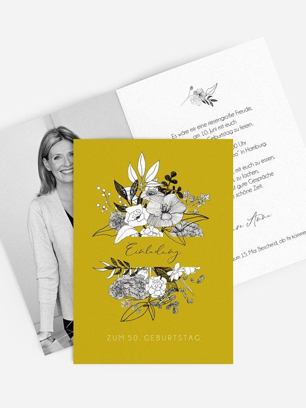Einladung 50. Geburtstag Blumentraum