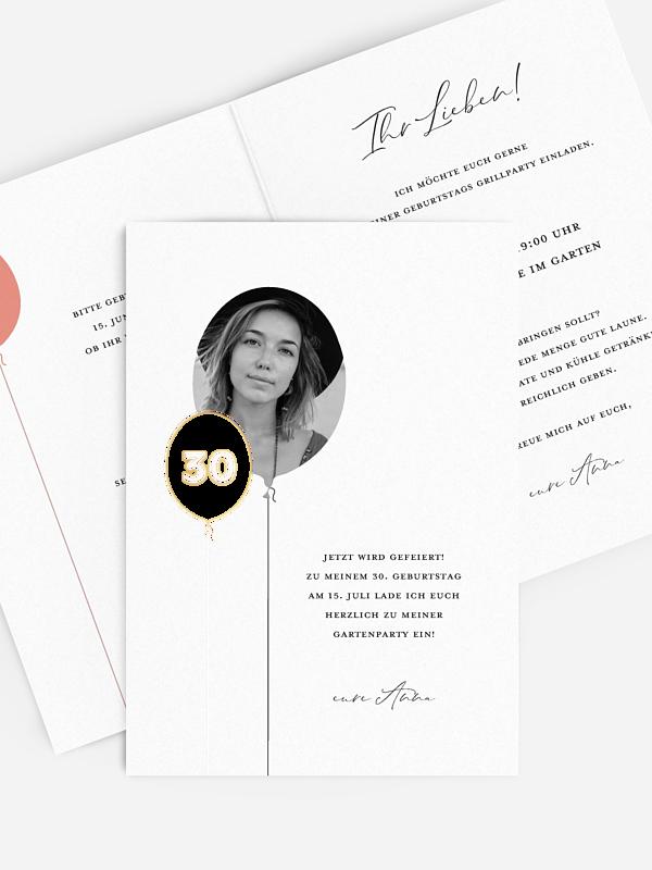 Einladung 30. Geburtstag Ballonzahl