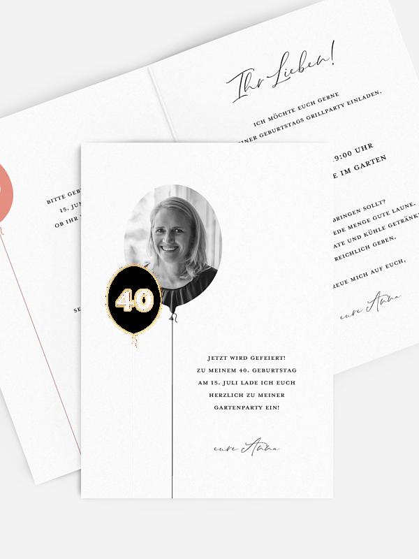Einladung 40. Geburtstag Ballonzahl