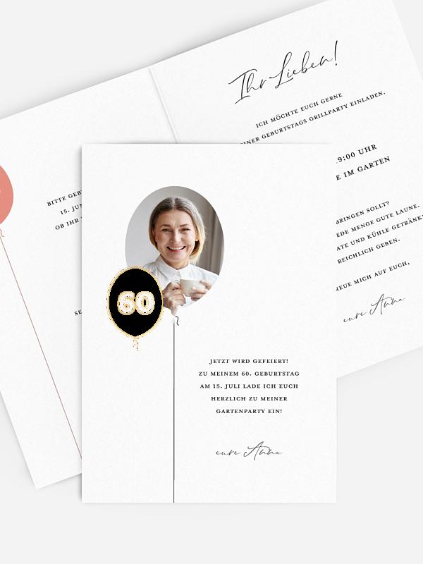 Einladung 60. Geburtstag Ballonzahl
