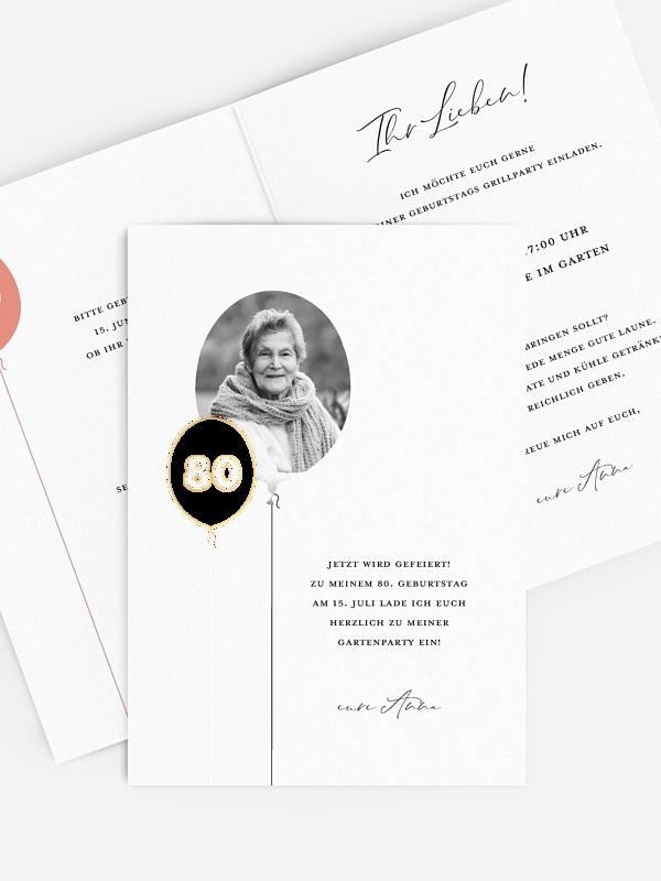 Einladung 80. Geburtstag Ballonzahl