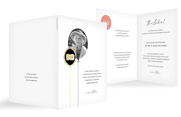 Einladung 90. Geburtstag Ballonzahl