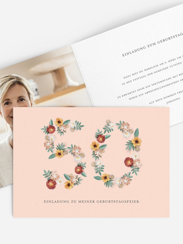 Einladung 50. Geburtstag Blütenzahl