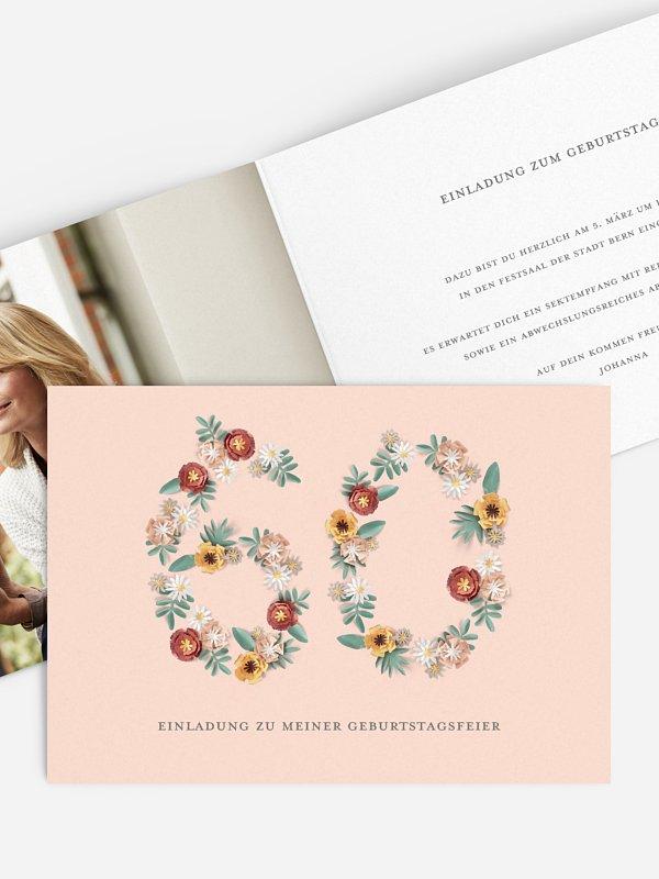 Einladung 60. Geburtstag Blütenzahl