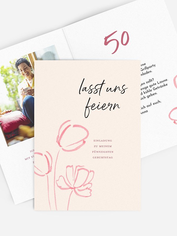 Einladung 50. Geburtstag Tulpengruß