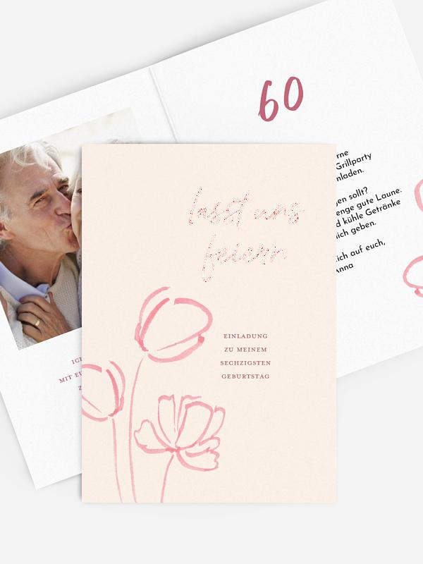 Einladung 60. Geburtstag Tulpengruß