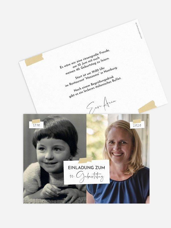 Einladung 40. Geburtstag Zeitreise