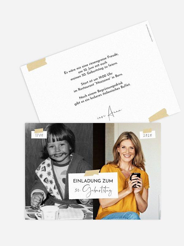 Einladung 50. Geburtstag Zeitreise