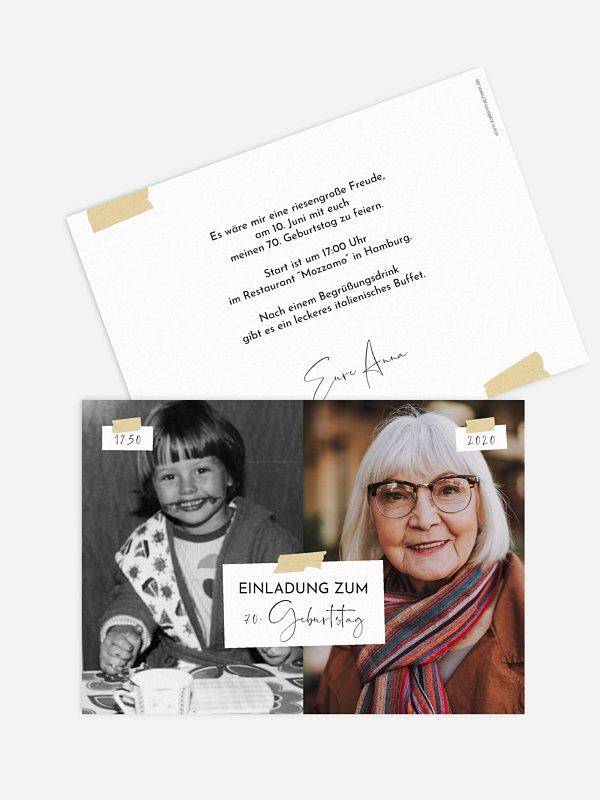 Einladung 70. Geburtstag Zeitreise