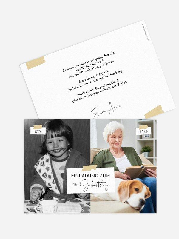 Einladung 80. Geburtstag Zeitreise