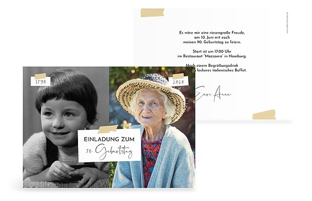Einladung 90. Geburtstag Zeitreise
