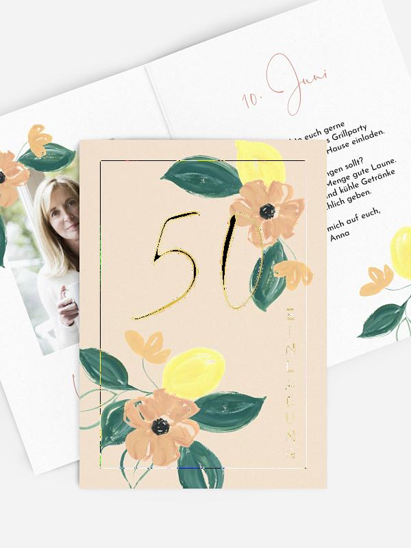 Einladung 50. Geburtstag Blooming Day