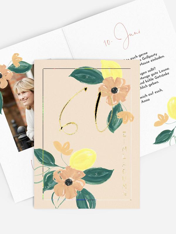 Einladung 60. Geburtstag Blooming Day